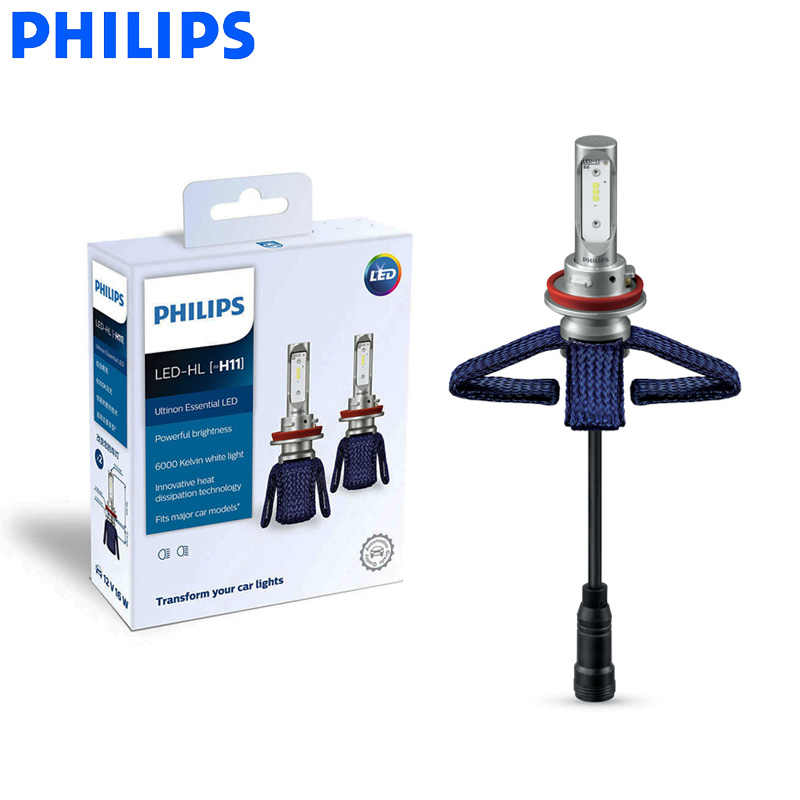 Philips LED H11 Ultinon Essential LED Car Bulbs 6000K Bright White Light Genuine Auto Headlight Lamps 11362UE X2, Pair