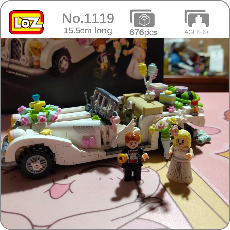 LOZ 1119 Love Luxury Wedding Car Vehicle Flower Balloon 3D Model 676pcs DIY Mini Blocks Bricks Building Toy For Children No Box