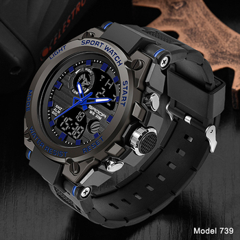 SANDA Top Luxury Watches Men Military Army Mens Watch Waterproof Sport Wristwatch Dual Display Watch Male Relogio Masculino 7