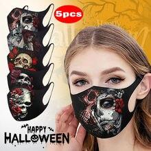 Mascarilla facial lavable con estampado 3d para fantasma de Halloween y adultos, máscara protectora transpirable a prueba de polvo, lote de 5 unidades