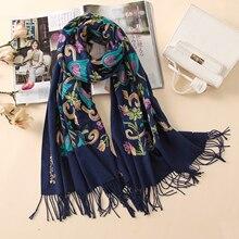 2020 del progettista di qualità del ricamo sciarpe di cachemire delle donne di inverno dellannata sciarpa di formato lungo scialli e impacchi della signora morbido warmer foulard