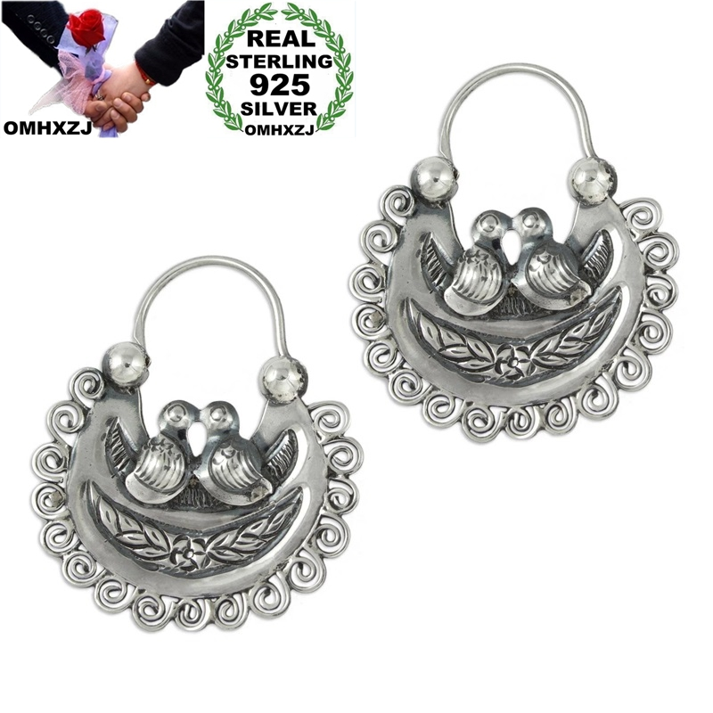 OMHXZJ Wholesale EA624 European Fashion Woman Girl Party Birthday Wedding Gift Vintage Parrots 925 Sterling Silver Drop Earrings