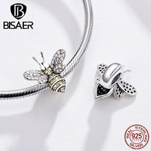 BISAER New 925 Sterling Silver Sweet Bee Charm Charm Beads For Necklace&Bracelet Women Gift Fashion Jewelry Making HSC1194 fashion women s matte 108 beads bracelet or necklace high quality charm new design bracelet