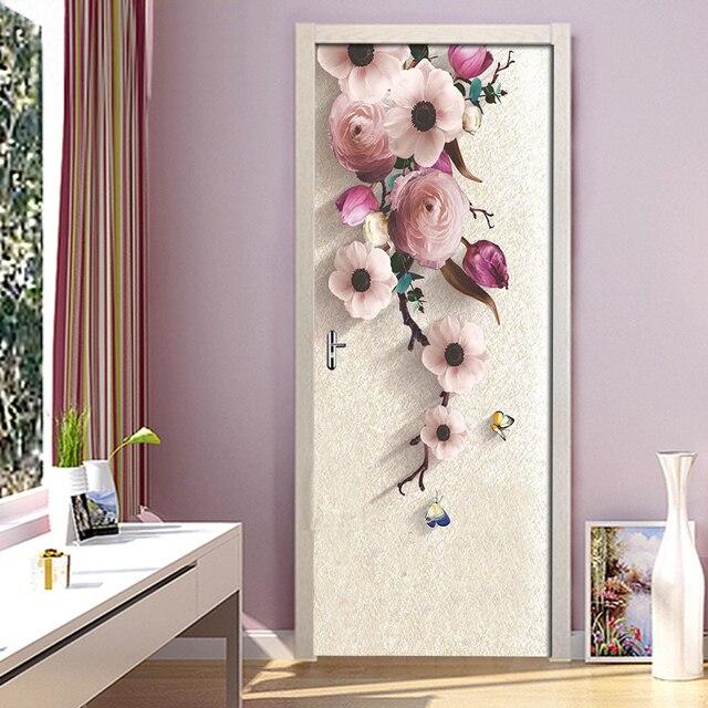 Фото 3d стерео hd ручная роспись розовые цветы дверная наклейка обои