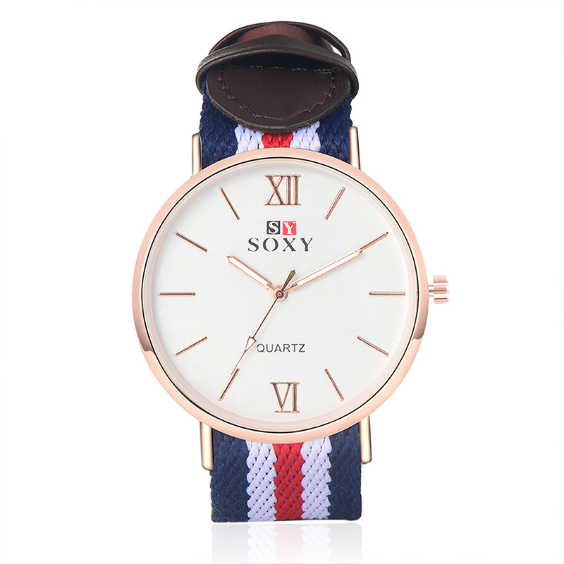 Couple Watch Fabric Quartz Clock Relogio Feminino SOXY Brand Watches Women Men Big Case Wristwatch Brief Fashion Casual