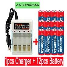 2020 nova tag aa bateria 9800 mah bateria recarregável aa 1.5 v. Novo recarregável alcalinas drummey + 1 pces carregador de bateria de 4 células