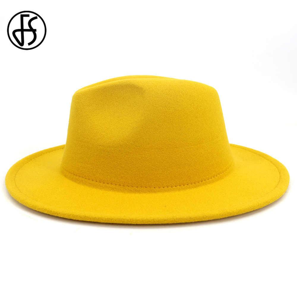 FS 2020 yeni sarı kırmızı Patchwork yün keçe caz fötr şapkalar erkekler kadınlar geniş Brim Panama kovboy fötr şapka parti zarif kap