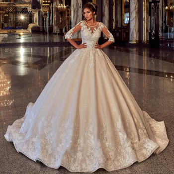 Alonlivn Delicate Shiny Beading O-Neck Wedding Dress Half Sleeves Lace Up Puffy Ball Gown Bride Skirts - discount item  33% OFF Wedding Dresses