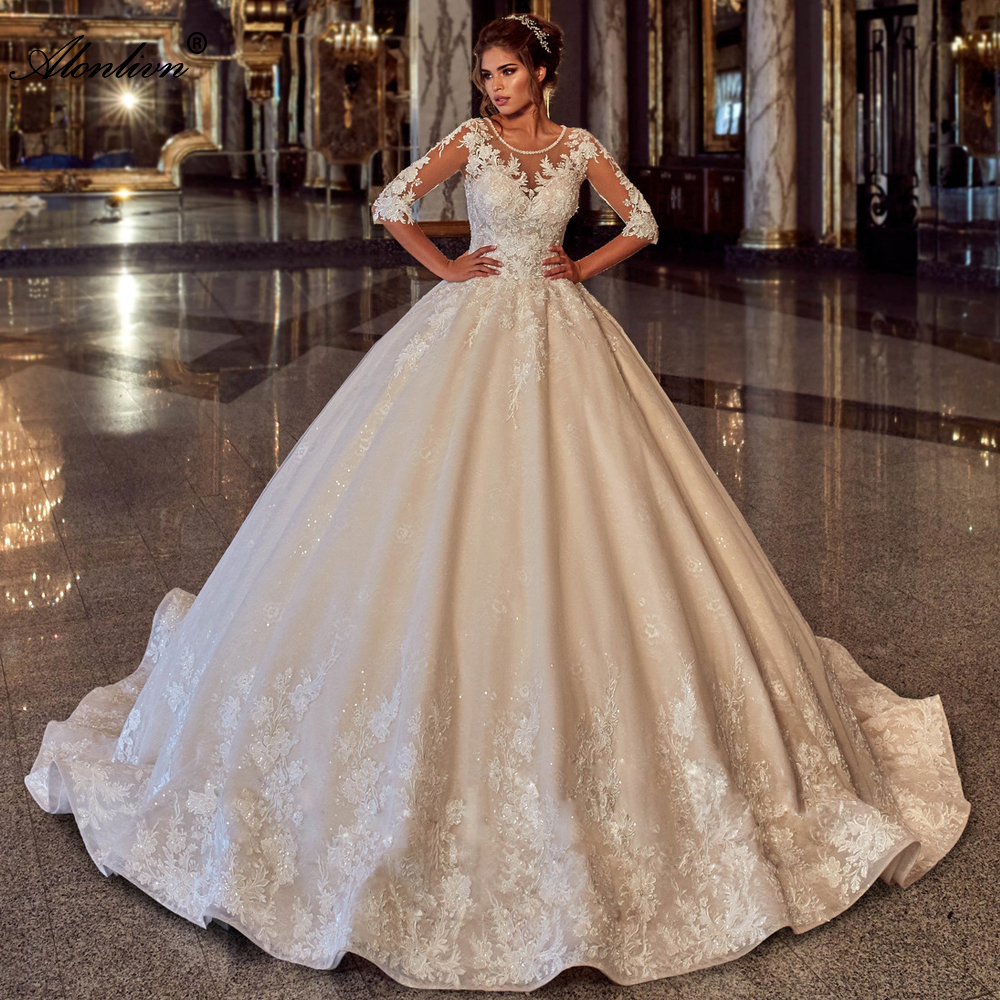 Alonlivn Delicate Shiny Lace Beading O-Neck Wedding Dress Half Sleeves Lace Up Puffy Ball Gown Bride Skirts