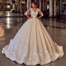 Alonlivn Zart Glänzende Perlen Oansatz Hochzeit Kleid Halbarm Lace Up Puffy Ballkleid Braut Röcke