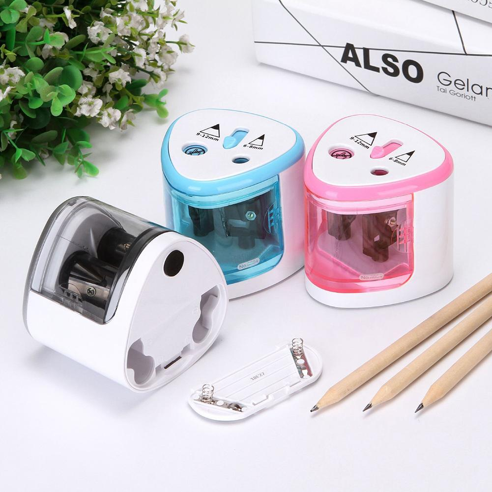 Dual Holes Battery Automatic Electric Pencil Sharpener School Office Stationery Simple and Efficient Friendly not Easy to slip