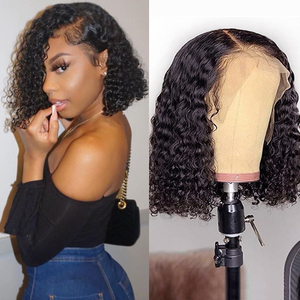 13X4 Bob Wig Lace Front Human Hair Wig Kinky Curly Brazilian Jerry Curl Remy Hair Lace Wig With Natural Hairline Deep Curly Wigs