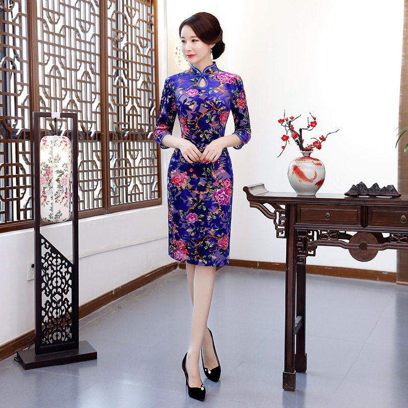 Amazon 2019 New Style Foreign Trade Velvet Cheongsam Chinese Costume The Republic Of China-Style Retro Middle-aged WOMEN'S Dress