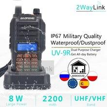 Baofeng Walkie Talkie de banda Dual, 8W, UV 9R, resistente al agua, IP67, 136 174/400 520MHz, Ham Radio, 10 KM, UV 9R Plus, serie UV XR, UV 9R