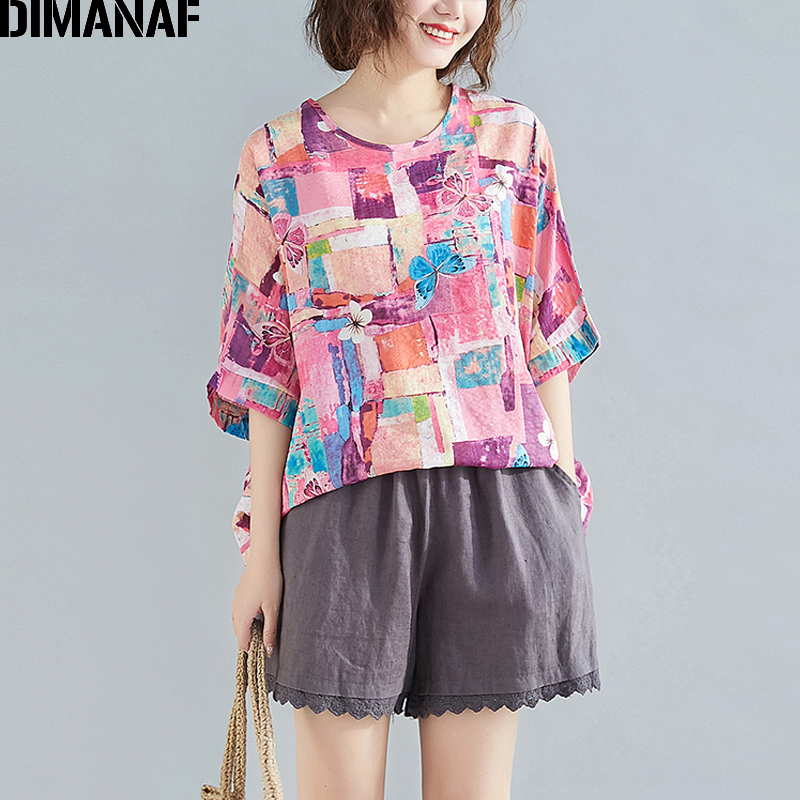 DIMANAF Summer Plus Size T-Shirts Women Clothing Basic Casual Lady Tunic Tops Tees Shirt Cotton Fashion Print Loose Tshirt Pink