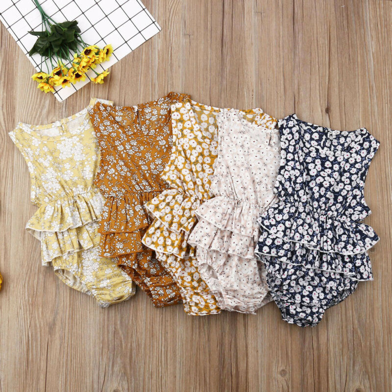 Pudcoco Baby Girl Clothes Floral Sleeveless Romper Ruffles Dress Cotton Summer Toddler Infant One Piece Outfits 1-2Y