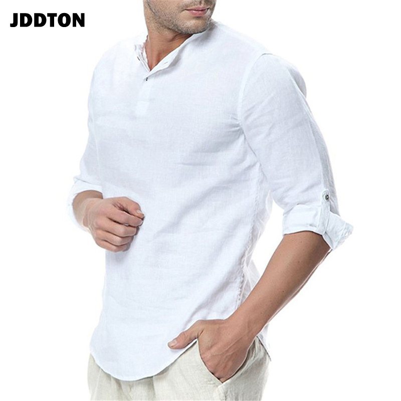 JDDTON New Men's Long Sleeve Shirts Cotton Linen Casual Breathable Comfort Shirt Fashion Style Solid Male Loose Streetwear JE065 3