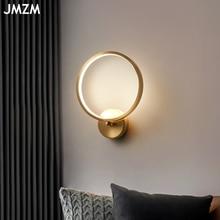 Jmzm ouro redondo lâmpada de parede led arandela luz para o quarto cabeceira decoração do banheiro fundo iluminação interior