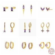 S925 Sterling Silber Stud Ohrring Koreanische Romantische Lila Zirkon Ohrring Für Valentinstag Kristall Jewerly Piercing Pendientes