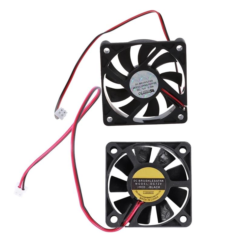 2 Pcs 5010 DC 12V 2Pin Brushless Cooling Fan 0.1A  50Mm & 0.16A 60Mm