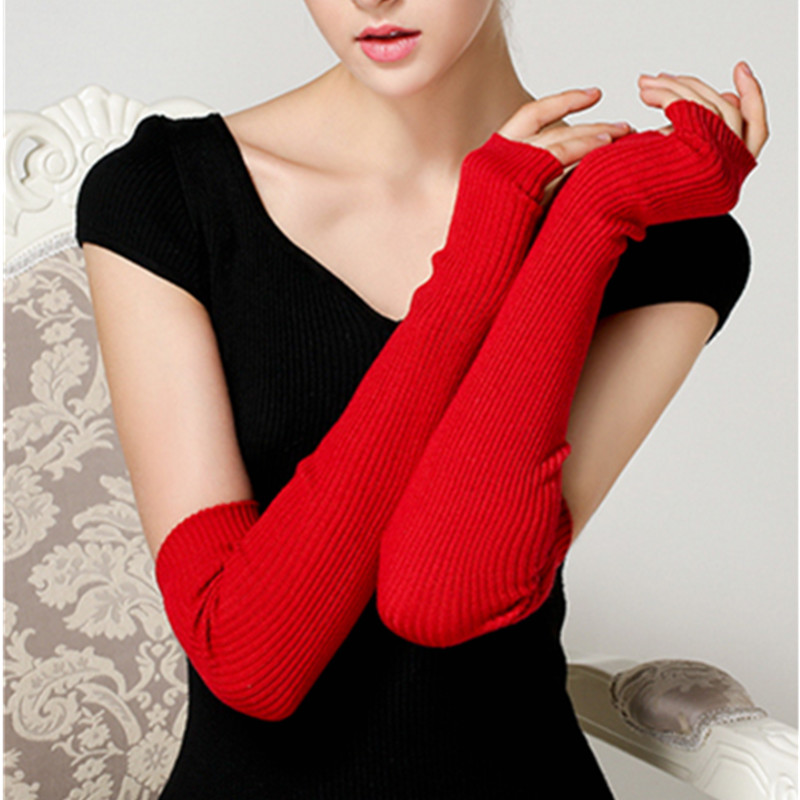 Good Quality Women's Knitting Woolen Arm Sleeve 40cm/50cm/60cm Long Knitted Mittens Fingerless Gloves Winter Arm Warmers Gift