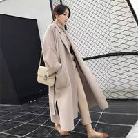 [LANMREM] 2019 autumn and winter new products Fashion retro lapel long solid color warm woolen coat female PA568