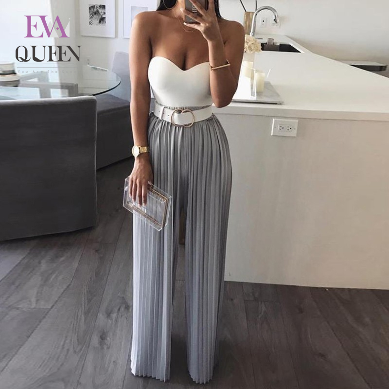 EvaQueen Sexy Rompers Womens Jumpsuit Casual V Neck Straight Bodycon Jumpsuit For Women 2018 Chiffon Female Knitted Overalls