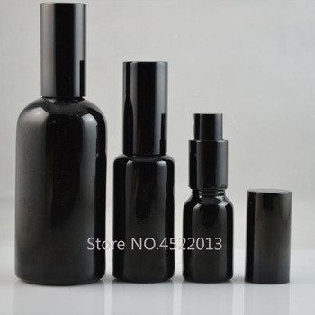10ML15ML30ML50ML100ML Glass Perfume Spray Bottle, DIY Empty Elegant Black Vial Lotion Pump Container, Cosmetic Emulsion Package
