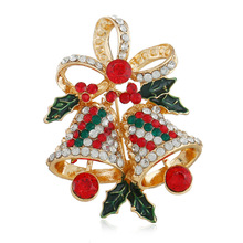 Fashion Rhinestone Bow Bell Brooches For Women Christmas Jewelry Coat Dress Accessories