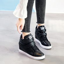 Купить с кэшбэком Women Height Increasing Shoes White/Black Lady Ankle Boots Spring/Summer/Autumn/Winter Female Shoes Woman Footwear