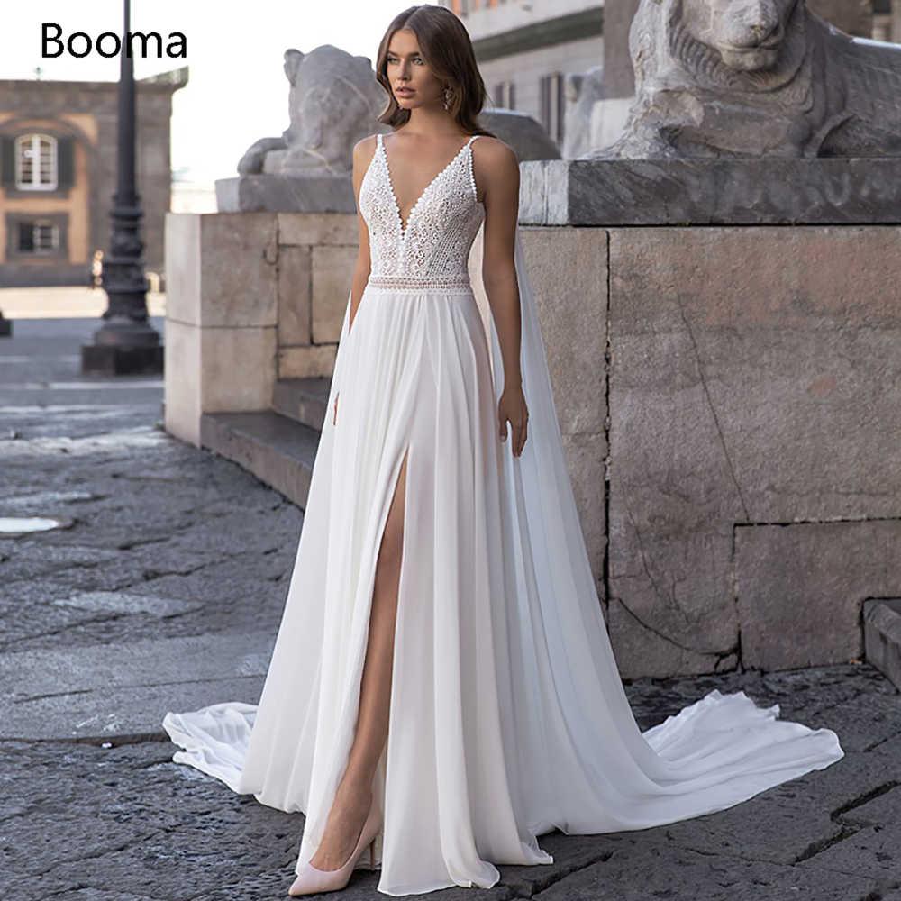 Weiß Boho Strand Hochzeit Kleider V ausschnitt Hohe Split Böhmischen Spitze  Braut Kleider Open Back Watteau Zug Chiffon Hochzeit Kleider