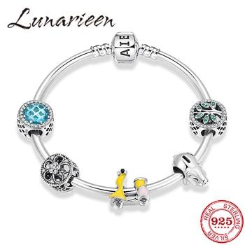 925 Sterling Silver Lucky flow year Green Tree of Life Bracelet with Cute Pig Blue Zircon Flower Beads Bracelets Women Jewerly