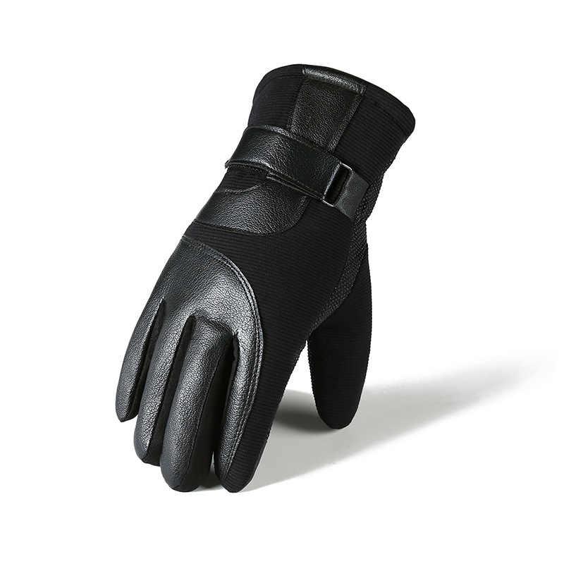 الشتاء قفازات جلد بو للرجال هي واقية من الرياح الدافئة والباردة واقية في الهواء الطلق أفخم وسمك قفازات ركوب الدراجات