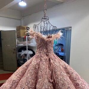 Image 5 - J66661 JANCEMBER parti uzun abiye 2020 sevgiliye kapalı omuz nakış tüyleri kadın elbise