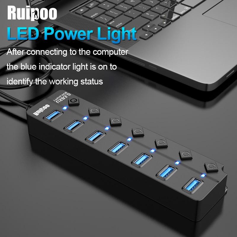 USB Hub 3.0 High Speed 4 / 7 Port USB 3.0 Hub Splitter On/Off Switch With EU/US Power Adapter For MacBook Laptop PC HUB USB 3.0