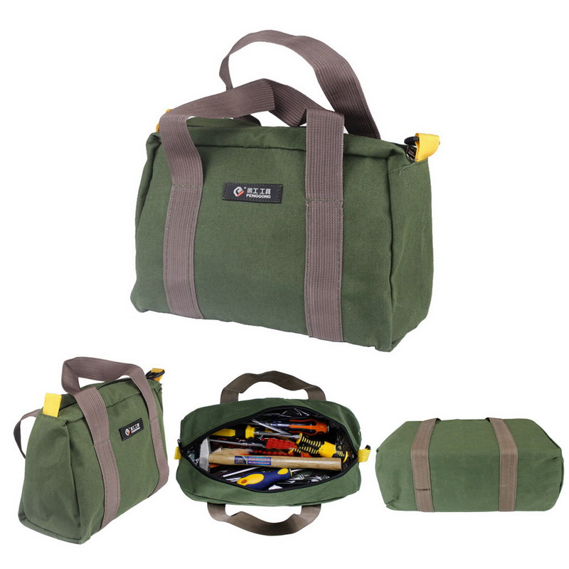 Urijk Multifunction Canvas Waterproof Tool Bags 12/14/16 Inch Green Portable Toolkit Screwdrivers Pliers Storage Bag Case