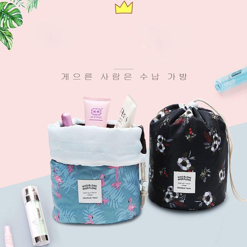 Waterproof Bag Elegant Barrel  Shaped Travel Women Cosmetic Bag  Drawstring  Drum Wash Storage Make Up Bag Bag Large Capacity