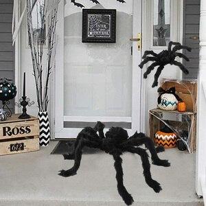 Horror Giant Black Plush Spider Halloween Party Decoration Props Kids Children Toys Haunted House Decor