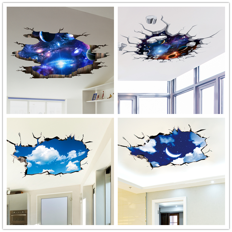 Shijuekongjian Outer Space Wall Stickers Cosmic Galaxy Planet Mural Decals For House Kids Room Baby Bedroom Ceiling Decoration Wall Stickers Aliexpress