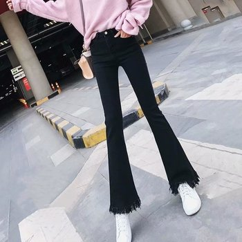 2020 New Boyfriend Jeans For Women Denim High Waist Flare Jeans Full Length Loose Casual Sexy Jeans Spring Pants cotton blend flare pants for women denim jeans casual plus size autumn spring high waist full length slimming sashes kpro604
