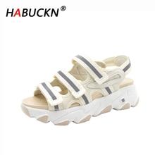 HABUCKN 2020 Сексуальная открытым носком женские спортивные сандалии плоский каблук прохладный туфли на платформе пляж летом