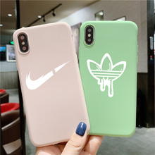 Luxury soft case for iphone 11 pro 2019 X XS MAX XR 8 7 6 6S plus phone cover matte silicone sports brand Cute color logo coque цена и фото