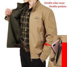 Plus Size 7XL 8XL Autumn Jacket Mens Double Sides Wear Military Jackets Coats Pure Cotton Veste Homme Solid Leisure Coat Male