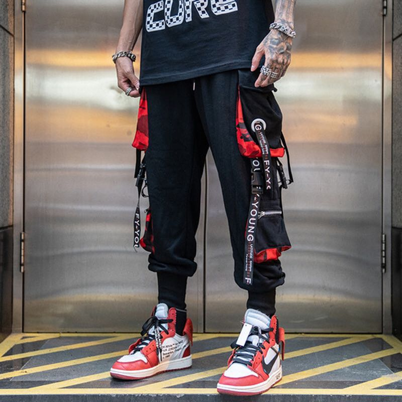 Men Hip Hop Black Cargo Pants joggers Sweatpants Overalls Men Ribbons Streetwear Harem Pants Women Fashions Trousers(China)