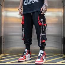 Pantalon cargo pour homme, style hip hop noir, survêtement, avec rubans, streetwear, sarouel, à la mode, pour femme également