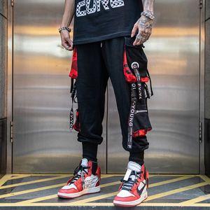 Мужские брюки-карго в стиле хип-хоп, черные брюки-карго, спортивные штаны для бега, мужские комбинезоны с лентами, уличная одежда, шаровары д...