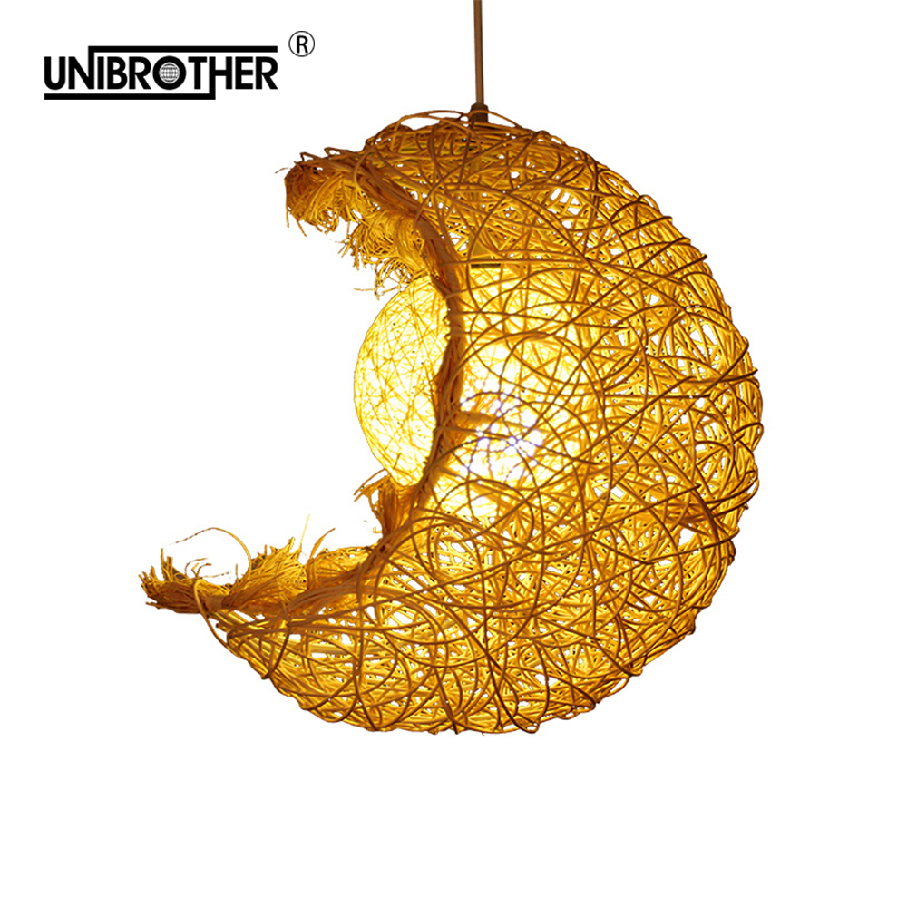 Moon Rattan Bamboo Pendant Lights Hanging Lamp Lighting Modern Home Decoration Suspension Luminaire