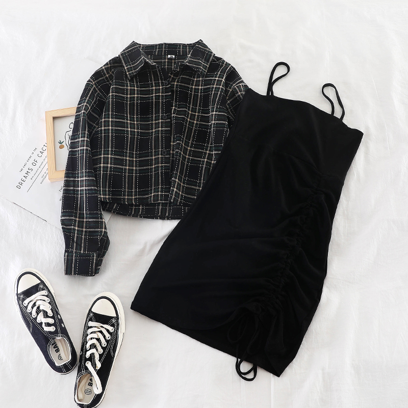 Stylish Women Sets Plaid Blouse And Black Straped Dresses Lady Elegant Casual Dress Suits Top Quality