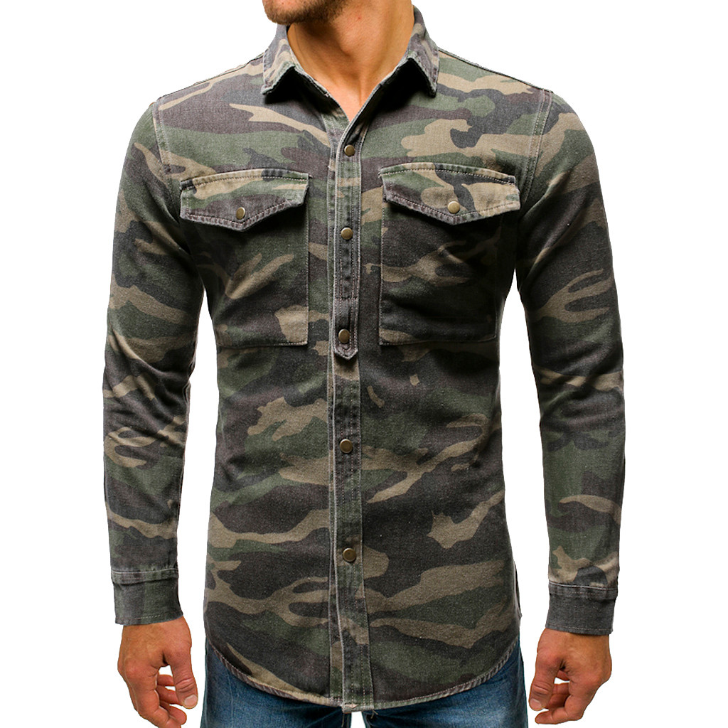 Men Shirt Camouflage Button Up Denim Cargo Pocket Turn Down Collar Top Blouse Camisa Vaquera Plus Size Hawaiian 3XL Streetwear