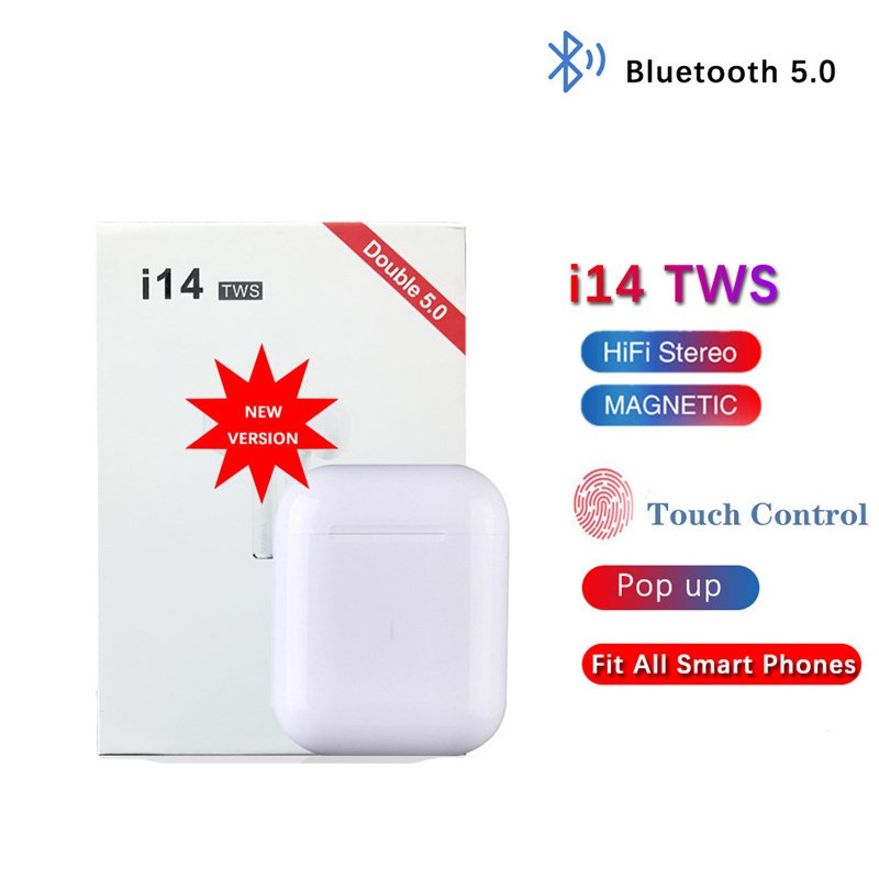 i14 <font><b>TWS</b></font> <font><b>Bluetooth</b></font> <font><b>5.0</b></font> <font><b>Earphone</b></font> Waterproof <font><b>Wireless</b></font> <font><b>headphones</b></font> Smart Touch Control sport Earbuds call Siri earpieces pk i30 <font><b>i12</b></font> image